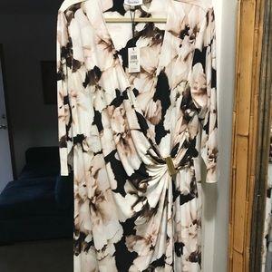 Calvin Klein NWT 1x dress faux wrap Macy's